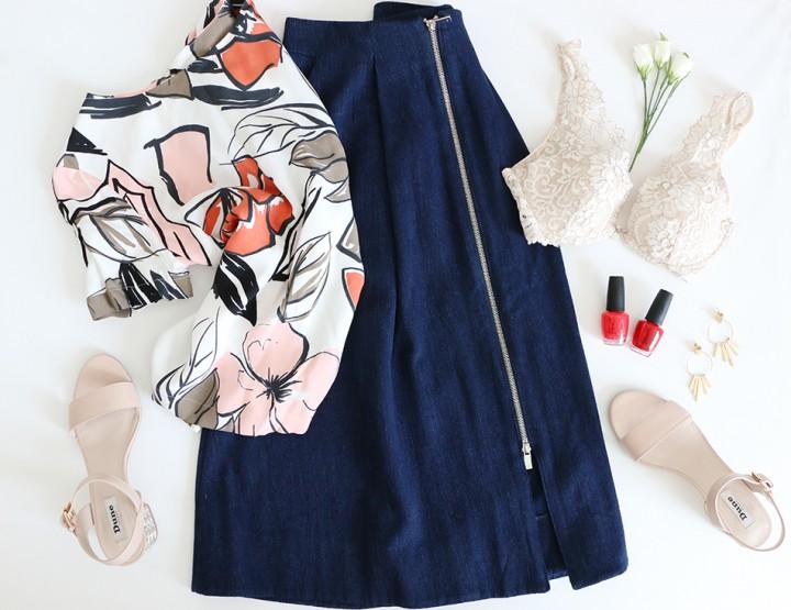 Current Mood: Denim Midi Skirt
