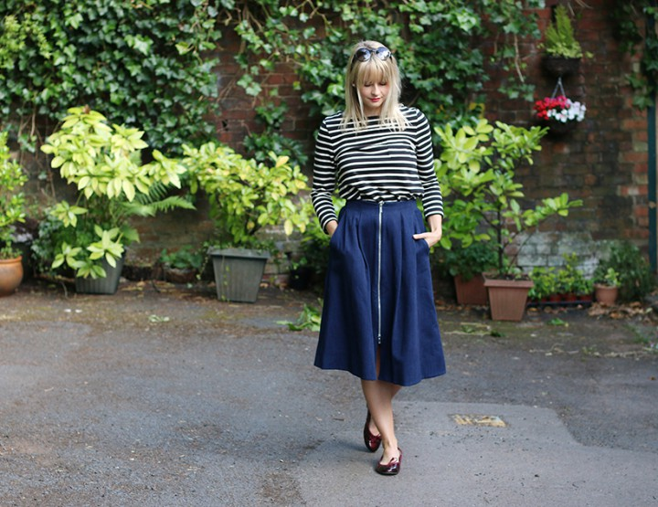 Whistles Denim Midi Skirt Look