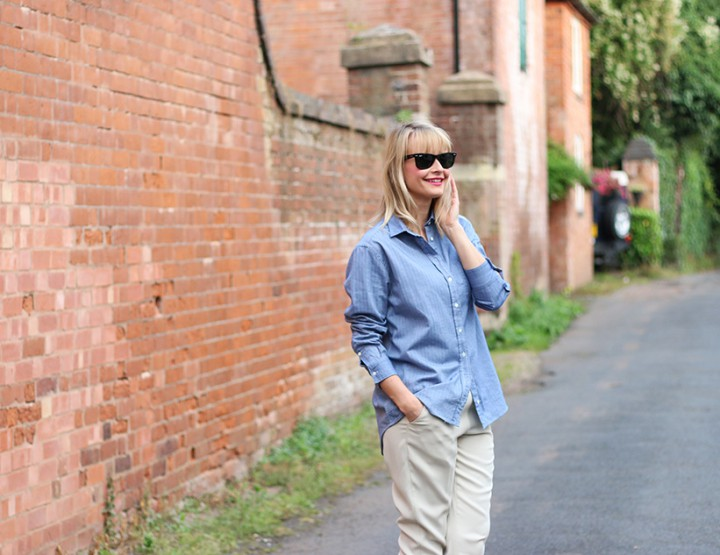 Casual trousers with denim shirt look