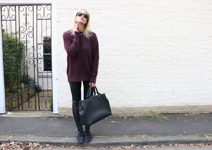 Oversized knit with leather pants look