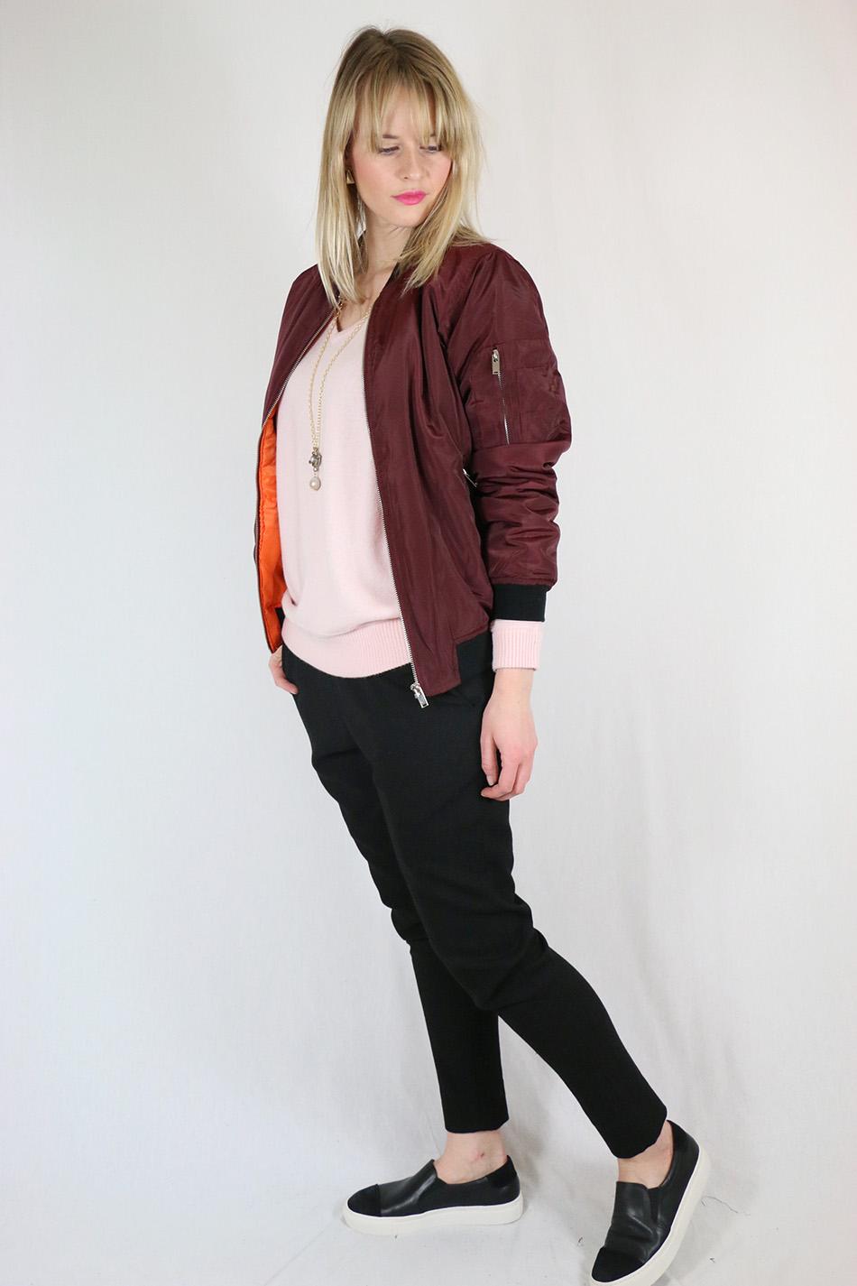 Fringe and Doll Burgundy Bomber jacketIMG_0644