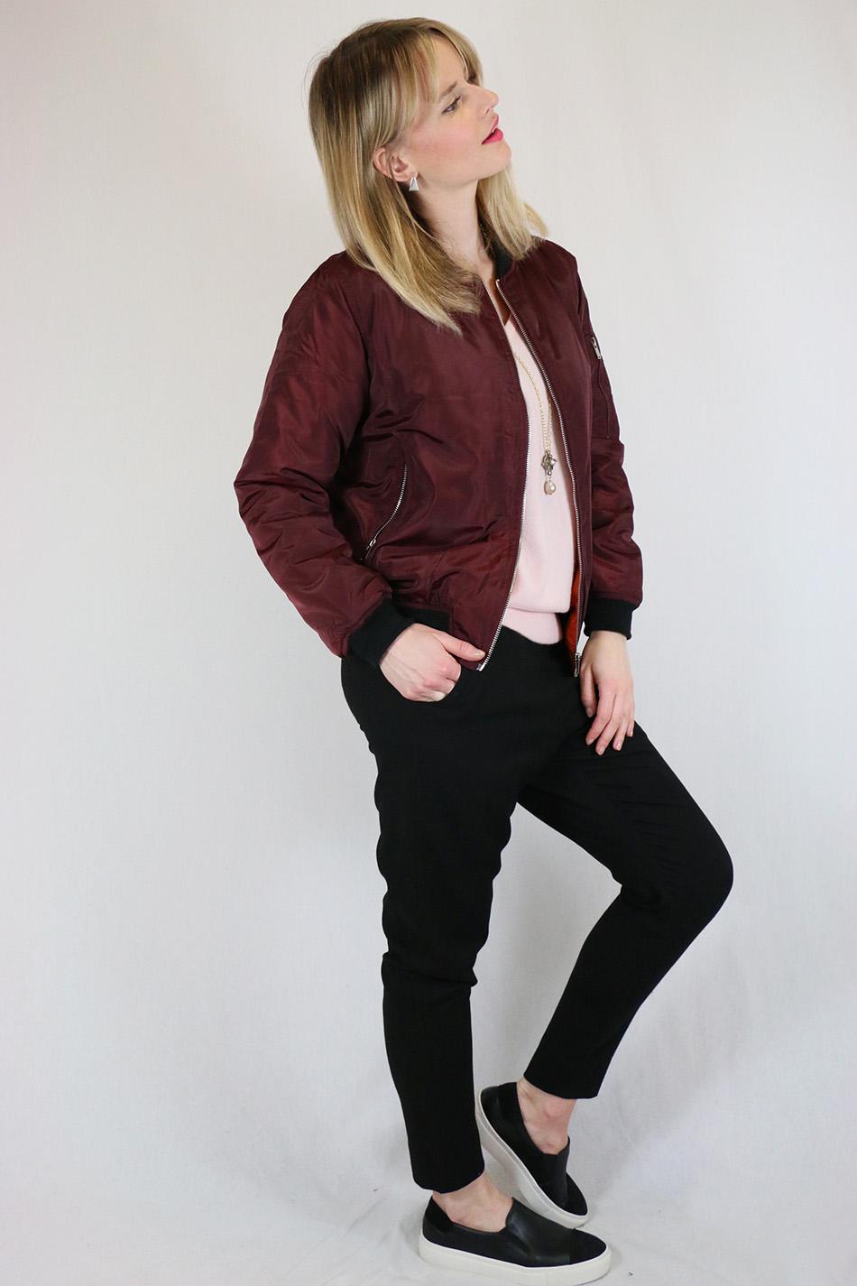 Fringe and Doll Burgundy Bomber jacketIMG_0711